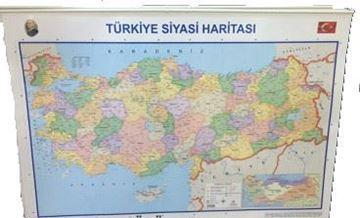 Türkiye Siyasi Haritası 70 x 100 çıtalı  resmi
